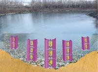 Schema d'hydroliennes dans un cours d'eau