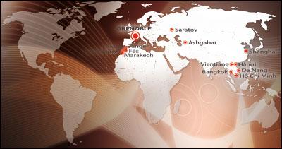 Carte du monde : la Formation continue au Maroc et en Asie